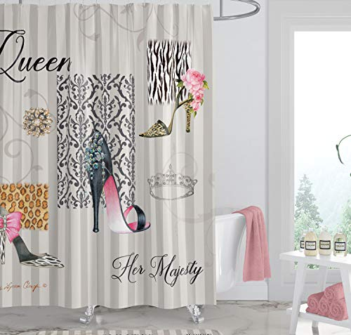 African American Expressions Duschvorhang mit Haken, 180,9 x 182,9 cm Queen Boutique Shoes