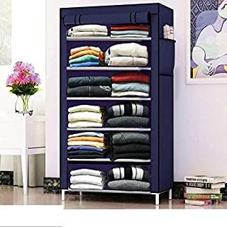 Glancestore Metal Collapsible Bedroom Wardrobe Organiser with 6 Layer for Clothes (Blue)