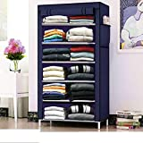 Glancestore Wardrobe Organizer for Clothes,Storage Rack for Kids and Women, Clothes Cabinet, Bedroom Organiser with 6 Layer,Collapsible Wardrobe for Clothes (Blue)