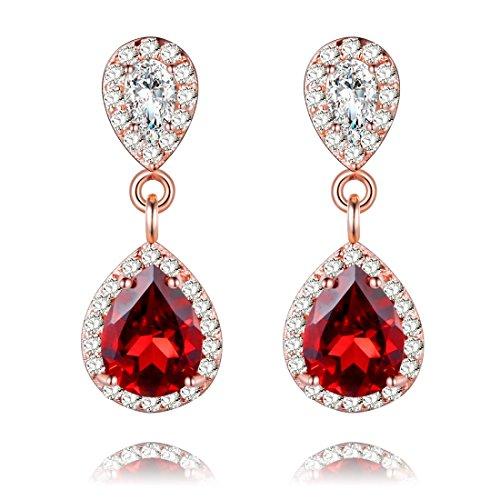Uloveido Women 925 Sterling Silver Pear Cut Natural Red Garnet Teardrop Stud Earrings Rose Gold Plated Birthstone Drop Dangle Earrings for Women FR015