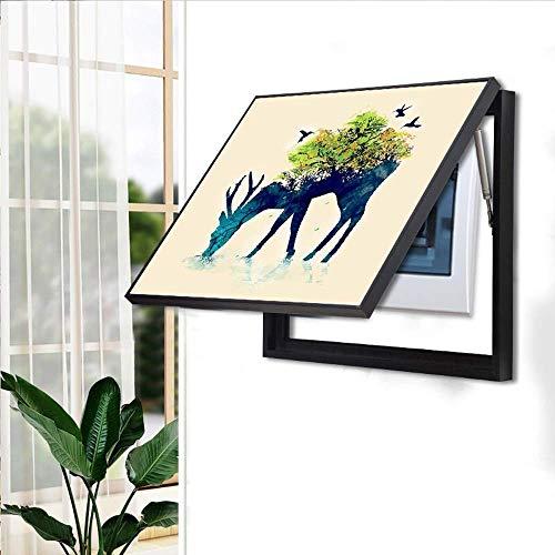 FTFTO Renovación del hogar Mobiliario Medidor eléctrico Decoración Pintura Moderna Caja de medidor Simple Pintura Interruptor pulsador Pintura Impermeable (Color: Verde Tamaño: 60x50cm)