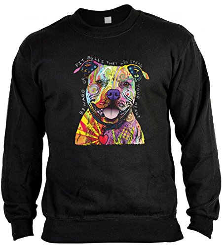 rohuf Design Neon Sweater - Bunter Hund - Pitbull Herzensbrecher - Sweatshirt als tolle Geschenk Aufdruck für Hundefreunde Pullover, Größe:XL