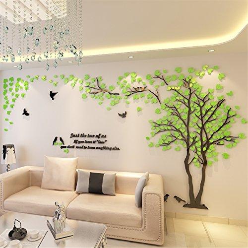 DIY 3D Riesiger Baum Paar Wandtattoos Wandaufkleber Kristall Acryl Malen Wanddeko Wandkunst (XL, Grün, Links)