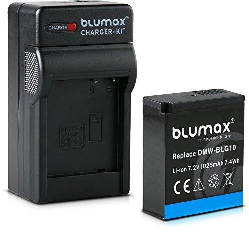 Blumax Akku 1025mAh + Ladegerät Netzteil ersetzt Panasonic DMW-BLG10 e kompatibel mit Lumix DC GX9 TZ202 TZ91 DMC TZ101 TZ81 GF6 GX7 GX80 LX100 G110