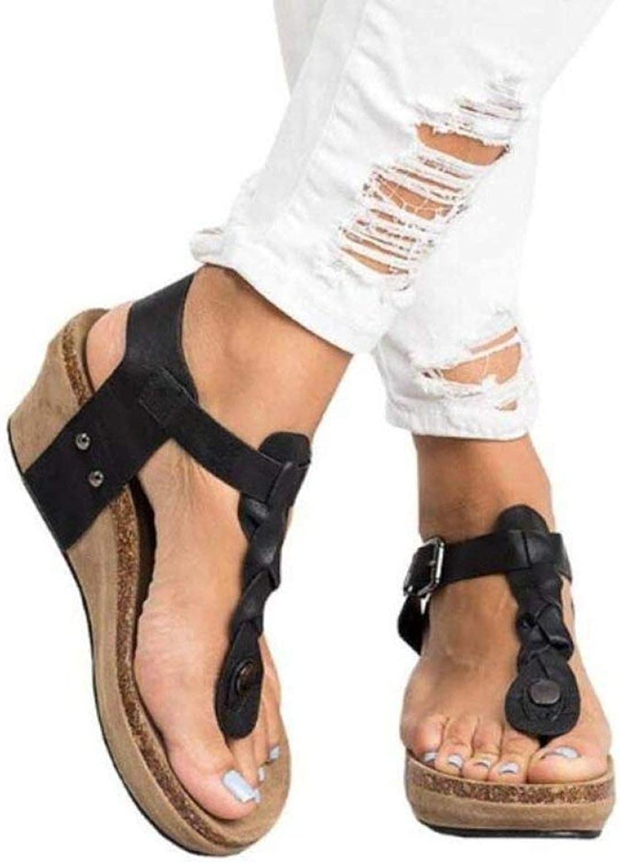 CoolBao Women Wedge Sandals Platform Flip Flops T-Straps Buckle shoes Casual Comfortable for Ladies Beach Slipper