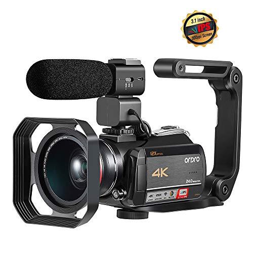 Videocamera 4K, Touch Screen ORDRO 4K Ultra HD IPS WIFI da 3,1 Pollici, Zoom Ottico 12x Camera, Microfono Esterno, Obiettivo Grandangolare, Paraluce e Stabilizzatore Palmare