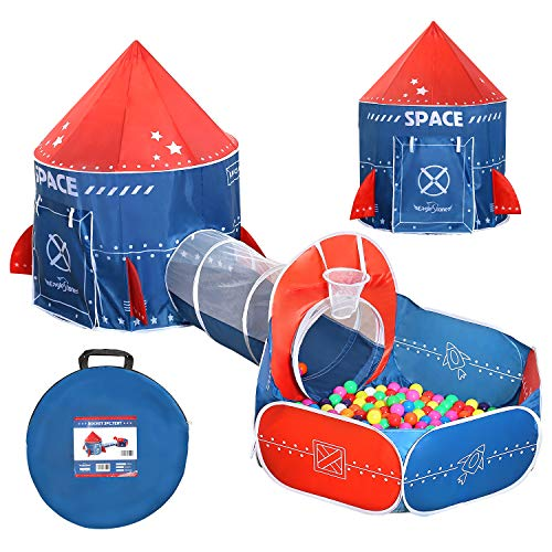 EagleStone 3 in 1 Kids Play Tent, Play Tunnel, Ball Pit with Basketball Hoop, Foldable Pop Up Fort Indoor and Outdoor Playhouse for Toddlers Boys Girls, Rocket Ship Design, Balls not Included
