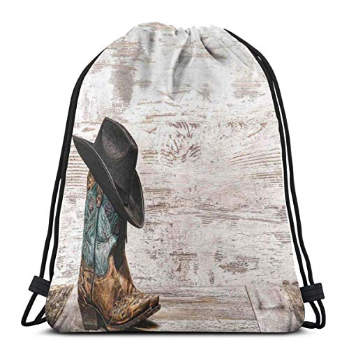 XCNGG Drawstring Bags Sport Gym Bag Travel ,Traditional Rodeo Cowboy Hat And Cowgirl Boots In A Retro Grunge Background Art Photo