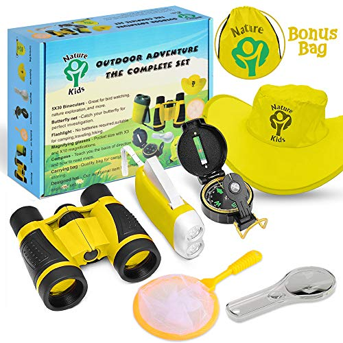 Heroes Outdoor Exploration Kit, Children's Toy Binoculars, Flashlight, Compass, Magnifying Glass, Backpack - Adventure, Camping, STEM Educational Toys - Best Gift for Boys and Girls Age 3, 4, 5, 6, 7