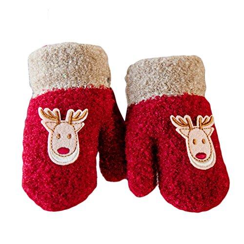 1 paire épais mignon cerfs-communs hiver chaud enfants Gants bébé garçon enfant fille gants avec string rouge