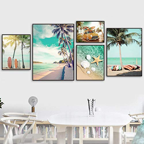 VVSUN Playa Estrella de mar Concha Árbol de Coco Tabla de Surf Arte de la Pared Pintura de la Lona Póster Imagen para la decoración de la Sala de Estar 20X30cm 30X40cmx2 40X60cm 50X70cm Sin Marco