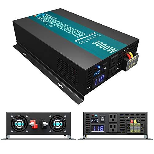 Reliable 3000w Pure Sine Wave Solar Power Inverter 24v 110-120v 60hz With LED Display (Black) Solar System