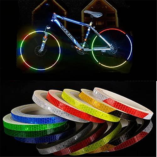 PMSMT Colorido MTB Bicicleta Pegatina reflectora de Bicicleta Pegatina Fluorescente para llanta de Rueda de Ciclismo 8 M de Longitud Pegatinas Reflectantes