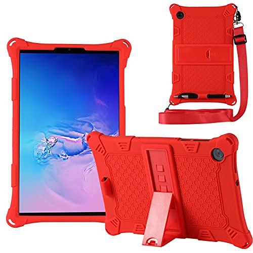 KATUMO Custodia Compatibile con Lenovo M10 HD 10.1  2a Generazione 2020 (TB-X306F X306X), Silicone Cover per Lenovo M10 FHD 10,3  2020 (TB-X606F X606X) Strappo e Tablet Stylus Pen,Rosso