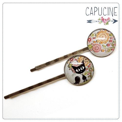2 pinces chat et fleurs bronze et cabochons verre - pinces cheveux chat et oiseau - Barrettes cheveux illustrées - L'Oiseau des Chats