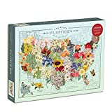 """Galison Wendy Gold USA State Flowers Puzzle, 1,000 Pieces, 20"""" x 27"""" – Jigsaw Puzzle Featuring a Colorful Illustration by Wendy Gold – Thick Sturdy Pieces, Challenging Family Activity, Great Gift Idea"""