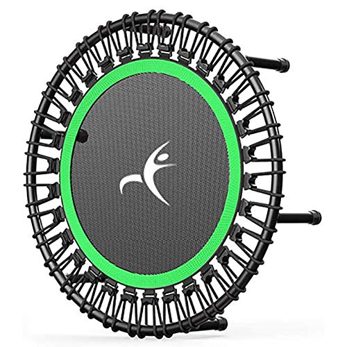 32' 40' 42' Fitness Trampoline, Silent Mini With Adjustable Handle Length, Adults Kids Indoor Gym Bungee Rebounder Jump Trainer Workout,green-32''-Without-armrest