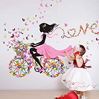 Romantic Girl's Riding bicycle Wall Stickers Decals Home Decoration Full of Flowers Butterflies Kids Room Living Room