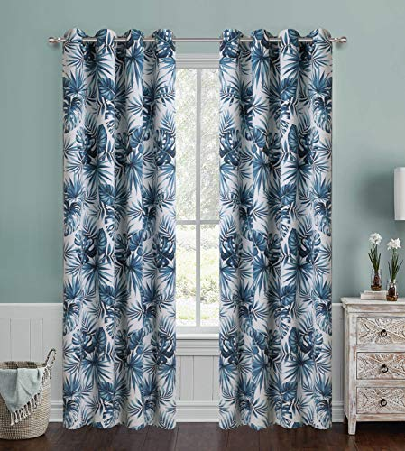 Blue Blackout Curtains for Bedroom Digital Floral Print Window Panel with Tropical Coconut Palm Leaf Set Grommet Heavy and Soft Energy Efficient Thermal Insulate Drapes for Living Room 63 inch Long