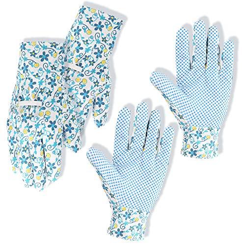 Bgfuni 2 Pares Guantes de Jardinería para Mujer, Guantes de Jardinería, Guantes de Jardin, Transpirables de Guantes Trabajo, para la limpieza del patio, con puntos de PVC suaves, M (Azul)