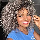 Psalms Hair Short Curly Wigs for Black Women Black Mixed Silver Gray Wig with Bangs Natural Puffy Kinky Curly Wig Synthetic Heat Resistant Full Wigs