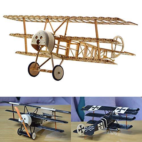 Fokker DR.1 Slow Flyer KIT, 358 mm Spannweite, Maßstab 1/20, Modellflugzeug zum selber Bauen, Balsa Holz Bausatz, RC Flugzeugmodell Baukasten, 280 x 358 x 135 mm groß, Lasercut, 48 g Fluggewicht