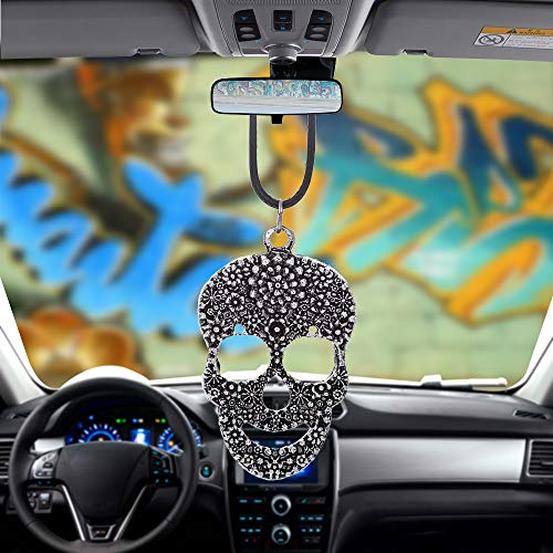 Libloop Men or Women Hanging Decorations for Car or Truck Rearview Mirror (Skull)