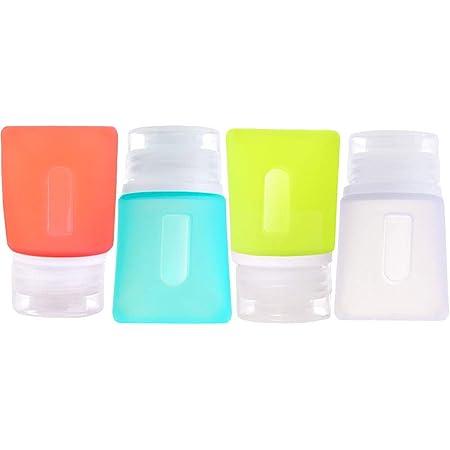JasCherry Mini Bottiglie da Viaggio in Silicone Flaconi Contenitori Set di 4 Bottiglia per Shampoo, Balsamo, Sapone, Doccia, Riempimento Lozione (37ml)