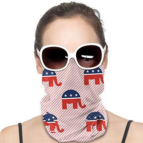 Red Gop Republican Elephant Impresión 3D Versátil Multifunción Headwear Neck Gaiter Balaclava Casco Liner Riding Face Cover Para Niños Mujeres Hombres Al aire libre Protección UV