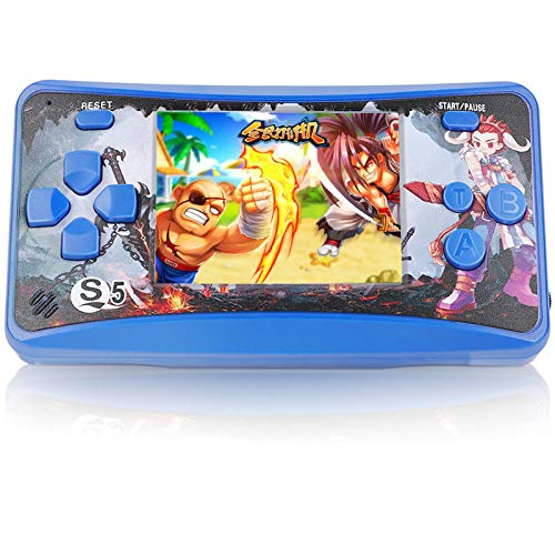 "JJFUN Retro Handheld Game Console for Kids, Built-in 182 Classic Games Arcade Entertainment Gaming System, 2.5"" LCD Portable FC TV-Out Video Game Player for Children-Blue"