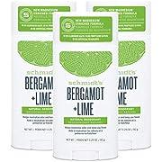 Schmidt's Aluminum Free Natural Deodorant for Women and Men, Bergamot + Lime with 24 Hour Odor Protection, Certified Cruelty Free, Vegan Deodorant, 3.25 oz 3-pack