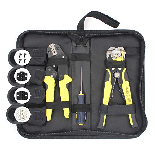 SONGWAY Ratcheting Crimping Tool Kit - Crimp Tool Kit with Wire Stripper, Crimping Tool Set with 4 PCS Interchangeable Die, Crimp Tool Set with Duffel Bag, Terminal Crimper Kit with Screwdriver, 8 PCS