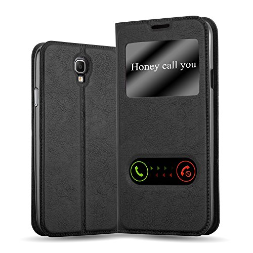 Cadorabo Hülle für Samsung Galaxy Note 3 NEO in KOMETEN SCHWARZ – Handyhülle mit Magnetverschluss, Standfunktion & 2 Sichtfenstern – Hülle Cover Schutzhülle Etui Tasche Book Klapp Style
