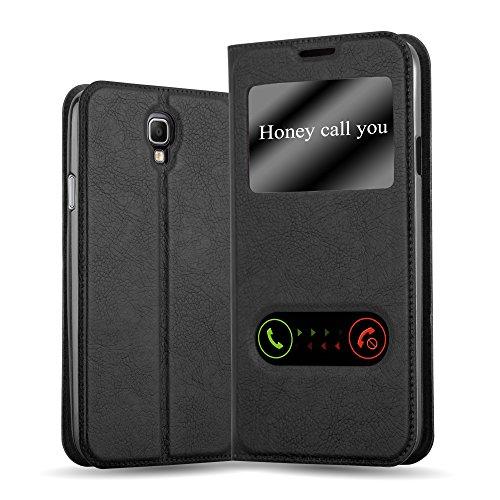Cadorabo Hülle für Samsung Galaxy Note 3 NEO - Hülle in KOMETEN SCHWARZ – Handyhülle im Standfunktion und 2 Fenstern (View Design) - Case Cover Schutzhülle Etui Tasche Book Klapp Style