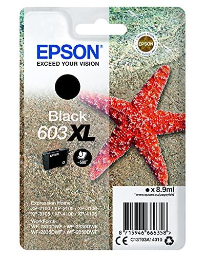 Epson Stella Marina Serie 603, Cartuccia Per Stampante a Getto d'Inchiostro, 1 Colore Nero, Formato Dimensioni XL, Stampe Affidabili Casa Ufficio Basso Costo fino 150 Pagine