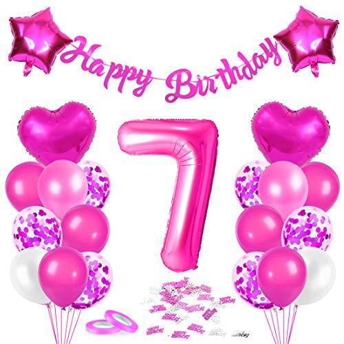 Bluelves Luftballon 7. Geburtstag Rosa, Deko 7 Geburtstag Mädchen, Geburtstagsdeko 7 Jahr, Riesen Folienballon Zahl 7, Happy Birthday Girlande Folienballon Zahl 7 für...