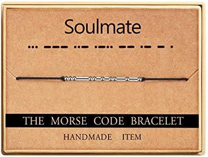 Ldurian Morse Code Bracelet Unique Gifts for Friends Beaded Cord Bracelet Christmas Thanksgiving product image