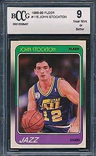 1988-89 Fleer #115 John Stockton Rookie Card Graded BCCG 9
