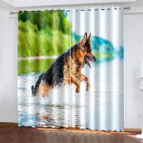 FACWAWF El Aislamiento Térmico con Patrón De Perro Impreso En 3D Se Tuerce Y Gira, Adecuado para Cortinas De Sala De Estar Y Dormitorio 184x160cm(2pcs)