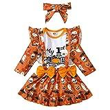 Geagodelia Conjunto de ropa de Halloween para bebé niña recién nacida + falda de tirantes 0-18M My First Halloween, Blanco & Naranja 47, 1 mes