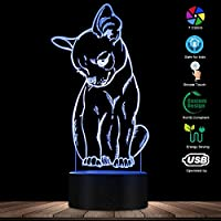 タッチコントロール、かわいい小さな犬チワワの品種の肖像画3D目の錯覚常夜灯色を変える動物ペットの子犬の寝室のテーブルランプ