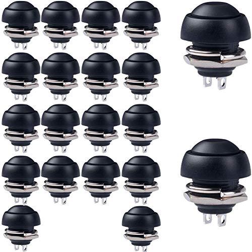 RUNCCI-YUN 20 Stücke 12mm schwarz Wasserdicht Momentan Mini Druckknopf, SPST EIN-AUS AC 250V/3A, Rund Drücken Taster für Autotrompete, PC, Tischlampe, Haustürklingel