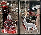 Yuson Girl Weihnachten Aufkleber Fenster Groß Süß Elch Und Weihnachtsbaum Abnehmbare Weihnachten Deko Wandtattoo Weihnachten Statisch Haftende PVC Aufkleber Fensteraufkleber Wandaufkleber Weihnachten
