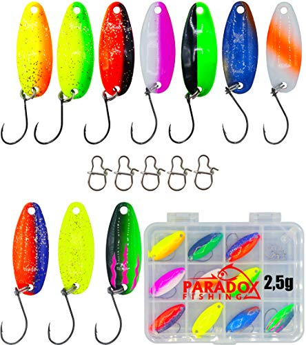 Paradox Fishing Forellen Spoon Set 10 Spoons 2,5g mit Box und 5 Snaps Forellenköder Set zum Forellen Angeln UV Spoons Forellen Köder Forellen Set Spoon Forelle - Spoons Forelle