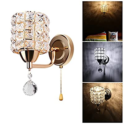 DDSKY Crystal Wall lights Modern Luxury Crystal Wall Sconce Polished Chrome Finish Wall Sconce Lighting Fixuture with E14 Scoket