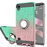 AYMECL Compatible for LG Tribute HD Case,LG X Style Case,LG Volt 3 Case, with HD Screen Protector,360 Degree Ring Holder Gradient Case for LG LS676 Mint&Rose Gold