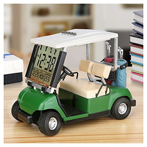 10L0L LCD Display Mini Golf Cart Clock for Golf Fans Great Gift for Golfers Superior Race Souvenir Novelty Golf Gifts (Green) (1)