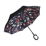 C Handle Windproof Reverse Folding Rain Umbrella Big Strong Fashion Man Women Windproof Sun Parasol,G
