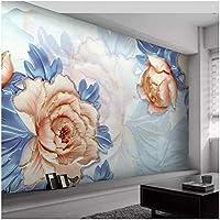 カスタム壁画 3D壁紙 エンボスフラワー リビングルームテレビソファの家の装飾 -200x140cm/79x55inch