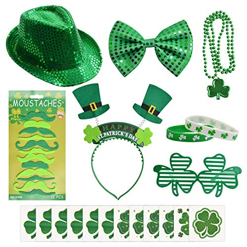 31 Pcs St. Patrick's Day Party Accessory Set with St. Patrick Hat, Beads Necklace Mustaches Sequin Bow Clover Glasses Temporary Tattoos and Rubber Bracelets for Irish Party Supplies Decorations
